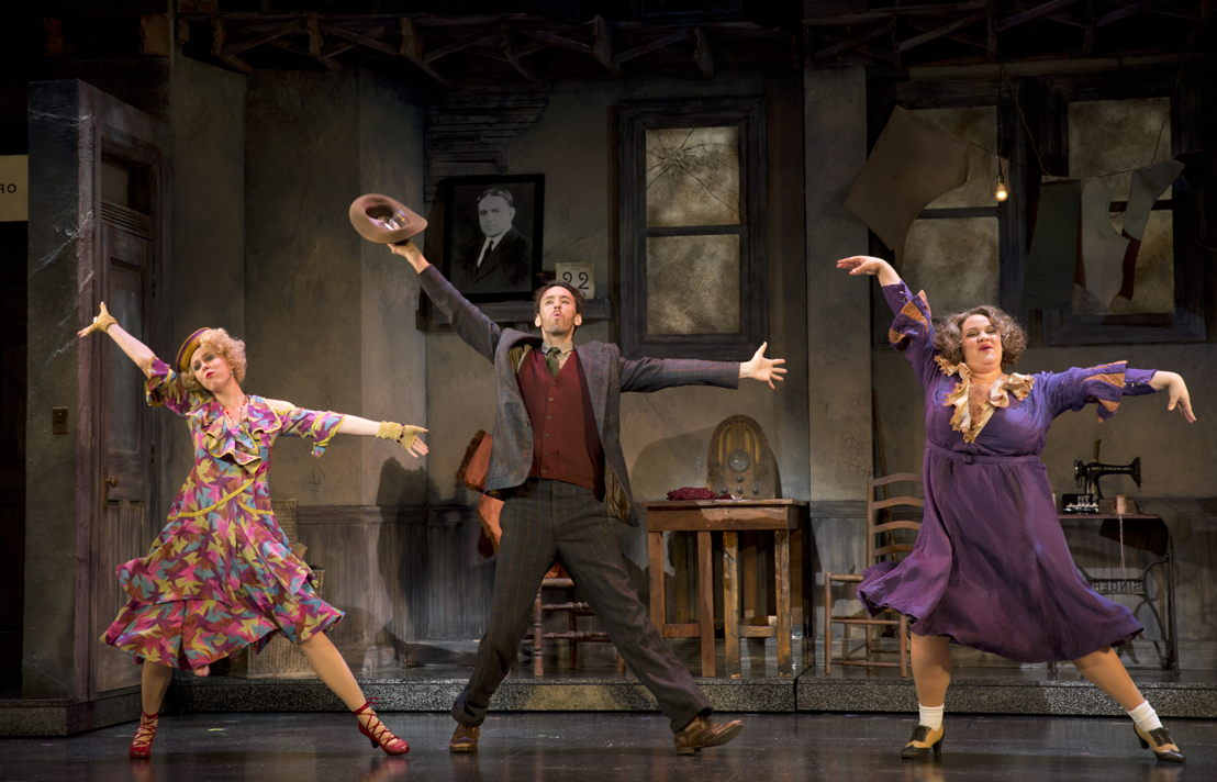 "Lucy Werner as Lily, Garrett Deagon as Rooster Hannigan and Lynn Andrews as<br/>Miss Hannigan in ""Easy Street&quot;<br/>Photo: Joan Marcus"