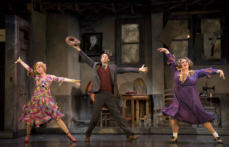 """Lucy Werner as Lily, Garrett Deagon as Rooster Hannigan and Lynn Andrews as<br/>Miss Hannigan in """"Easy Street&quot;<br/>Photo: Joan Marcus"""