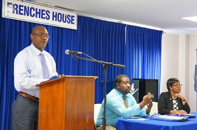 The Hon. Minister Frederick Stephenson delivering the feature address at the opening ceremony.
