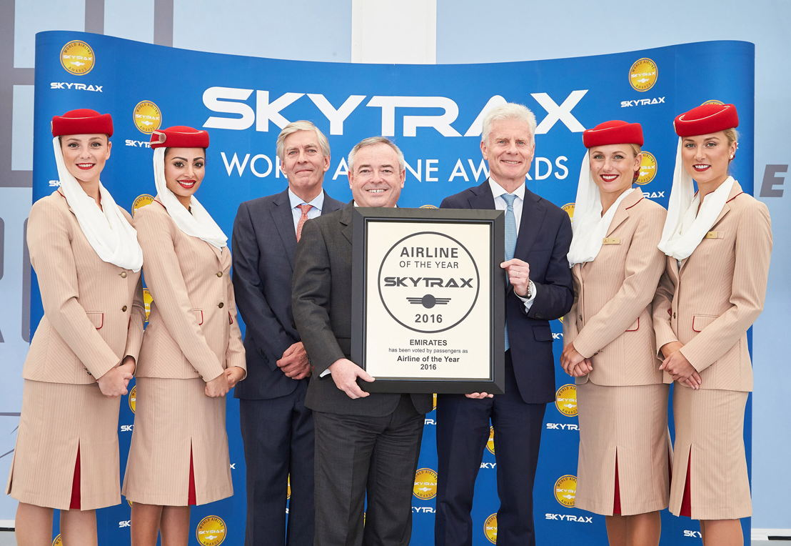 : Patrick Brannelly Divisional Vice President, Customer Experience receiving the award from Edward Plaisted, CEO of Skytrax. Emirates was today named the World's Best Airline 2016 at the prestigious Skytrax World Airline Awards 2016.  Also pictured on the left  is Lord Deighton, Non-Executive Chairman of Heathrow Airport.