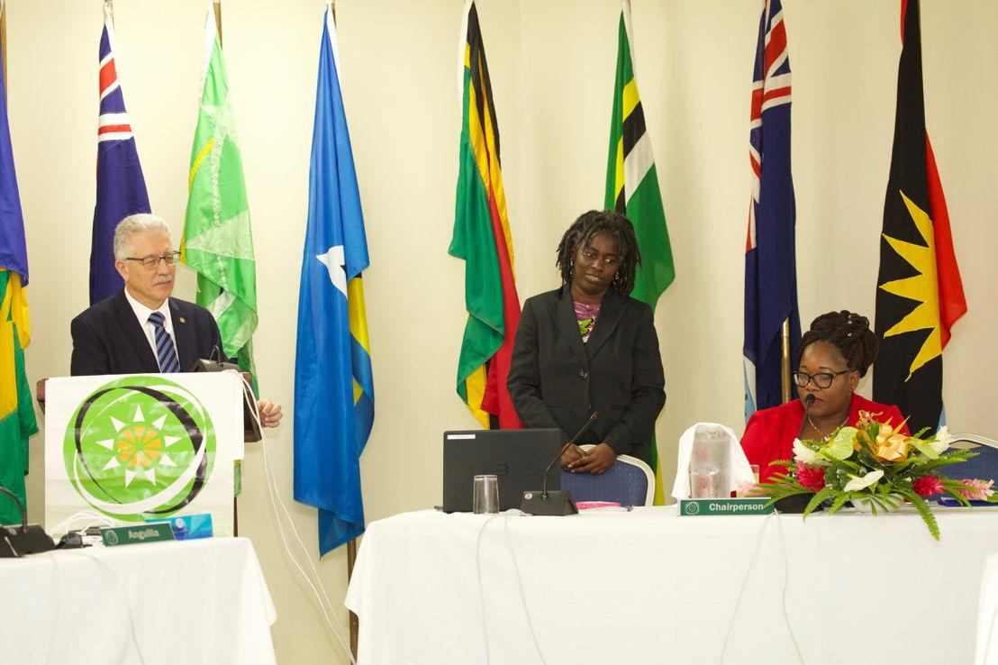 Dr. Godfrey Xuereb, PWR PAHO-ECC,  Dr. Carlene Radix- Head of Health, Hon Delmaude Ryan, Deputy Premier Montserrat and Chair of 5th COMH