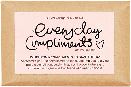 I Love My Type Mini compliment cards 7€