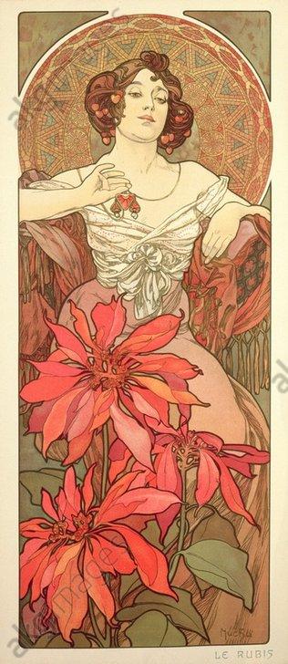 """Ruby"", 1900. From a series of four panneaux decoratifs ""Precious Stones"".<br/>AKG1006683"