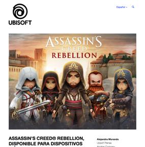 ASSASSIN'S CREED® REBELLION, disponible para dispositivo moviles el 21 de Noviembre