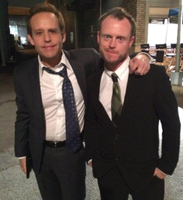 Eyster and Peter MacNicol on the set of CSI: Cyber.
