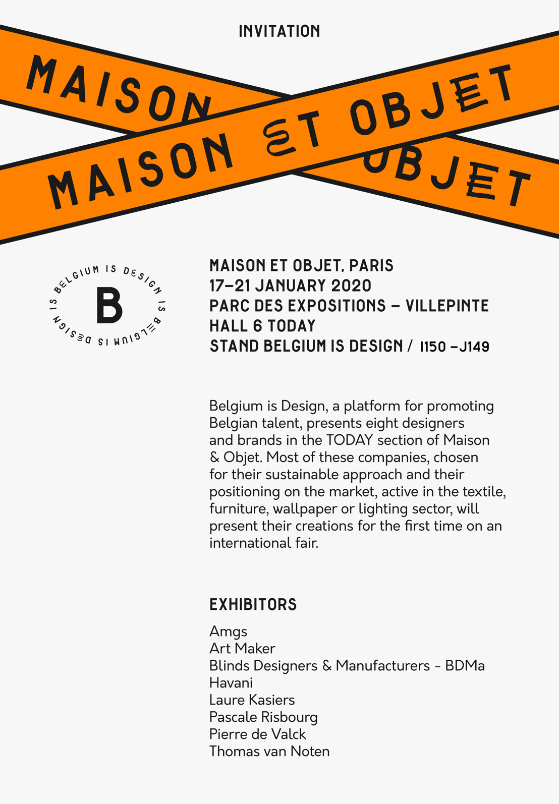 INVITATION: Belgium is Design - Maison&Objet Paris