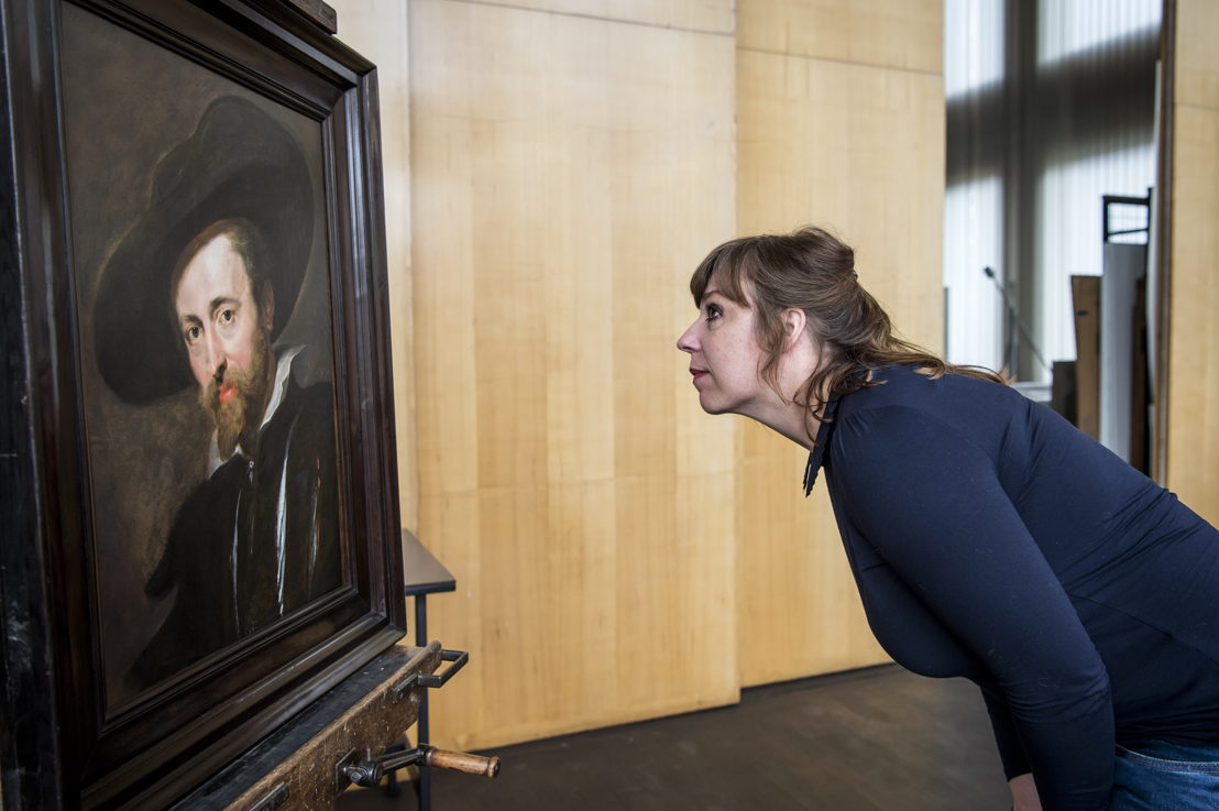 1_Peter Paul Rubens, Zelfportret, Rubenshuis Antwerpen, na restauratie in KIK-IRPA met restauratrice Marie-Annelle Mouffe, opname 13 april 2018, foto Sigrid Spinnox