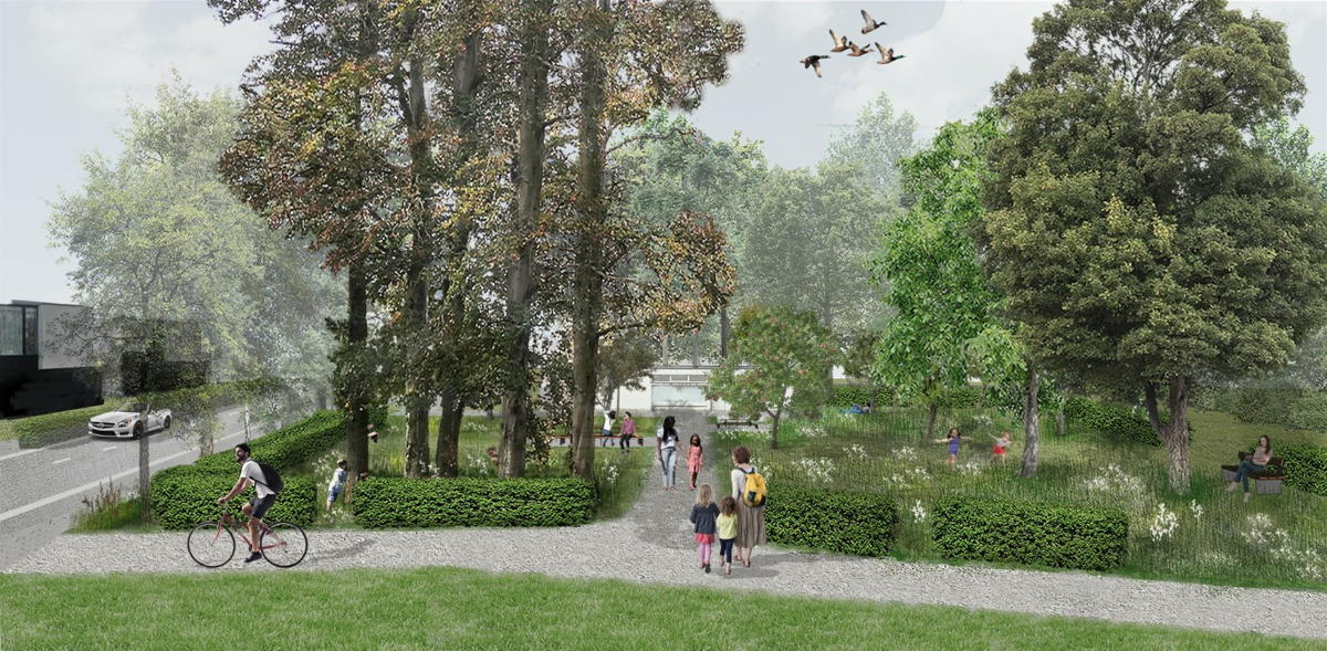 © VLM, visualisatie portaal Leeuwenhof ter hoogte van jeugdhuis