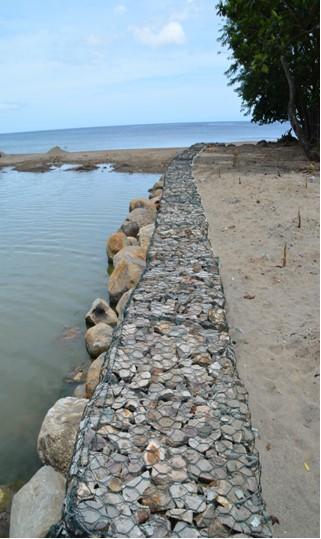 River bank stabilisation wall, Anse La Raye