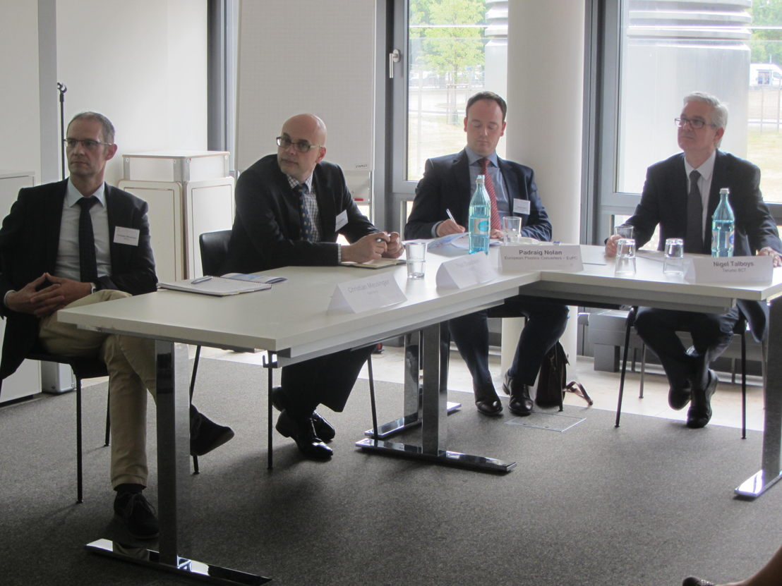 Panel debate with (from left) Christian Meusinger from Nemera, Paul Davidson from Sabic, Padraig Nolan from EuPC and Nigel Talboys from Terumo BCT