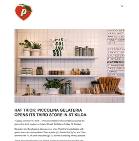 Hat trick: Piccolina Gelateria opens it's third store in St Kilda