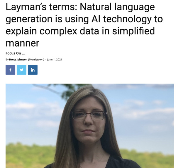 Preview: Layman's terms: Natural language generation is using AI technology to explain complex data in simplified manner