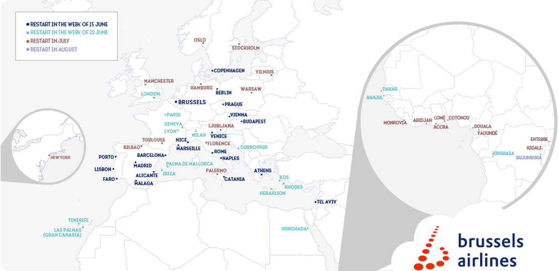 Brussels Airlines restarts its operations with a network of 59 destinations from June until August