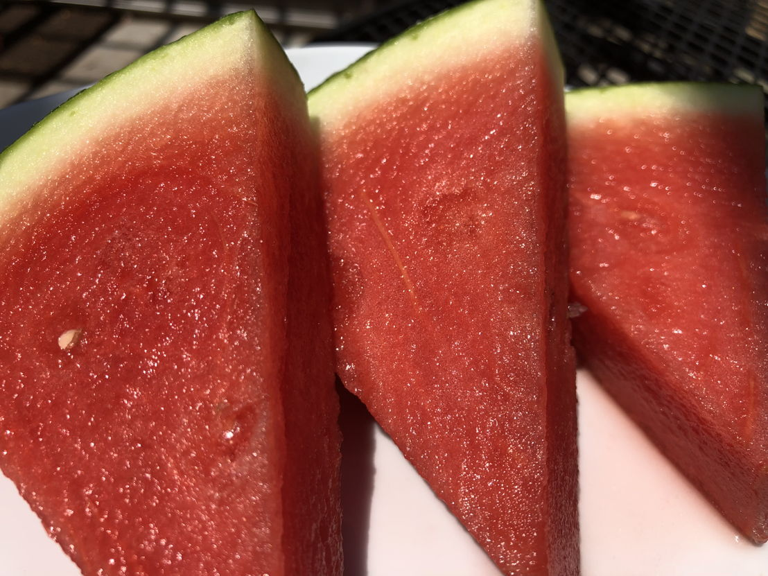 Sliced Rocky Ford Red Seedless Watermelon.
