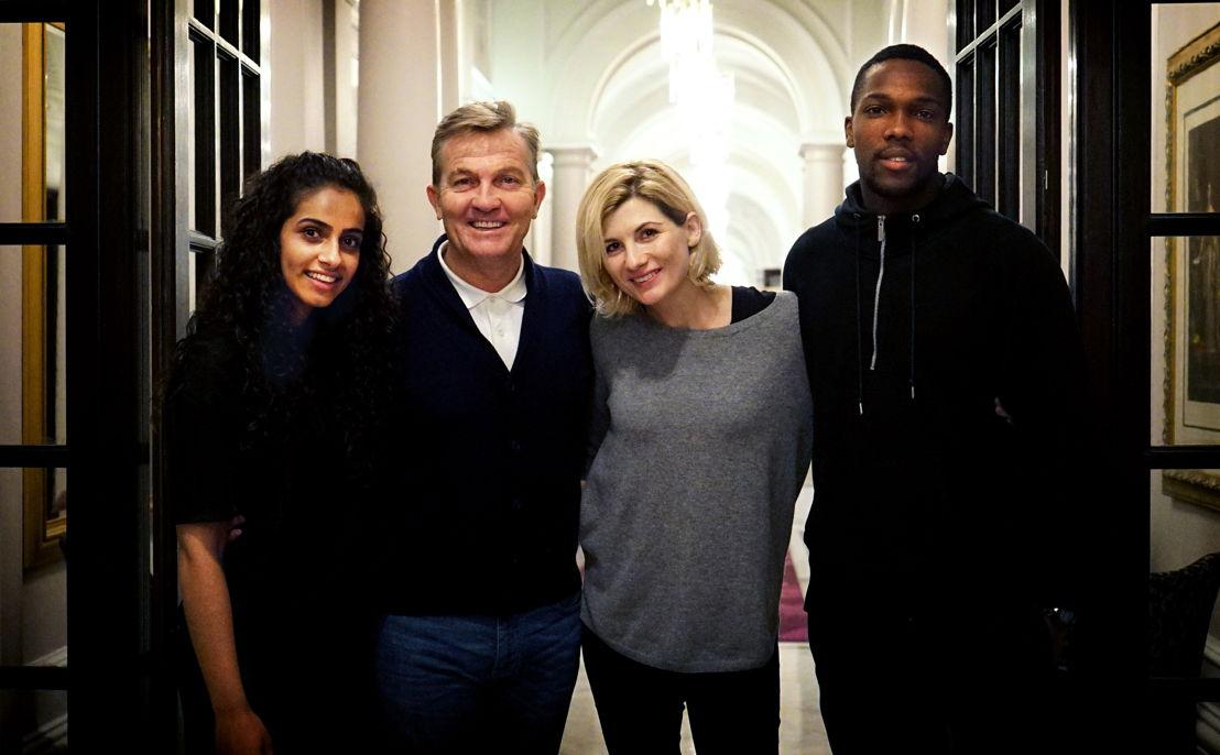 Yasmin (Mandip Gill), Graham (Bradley Walsh), The Doctor (Jodie Whittake), Ryan (Tosin Cole) Doctor Who S13