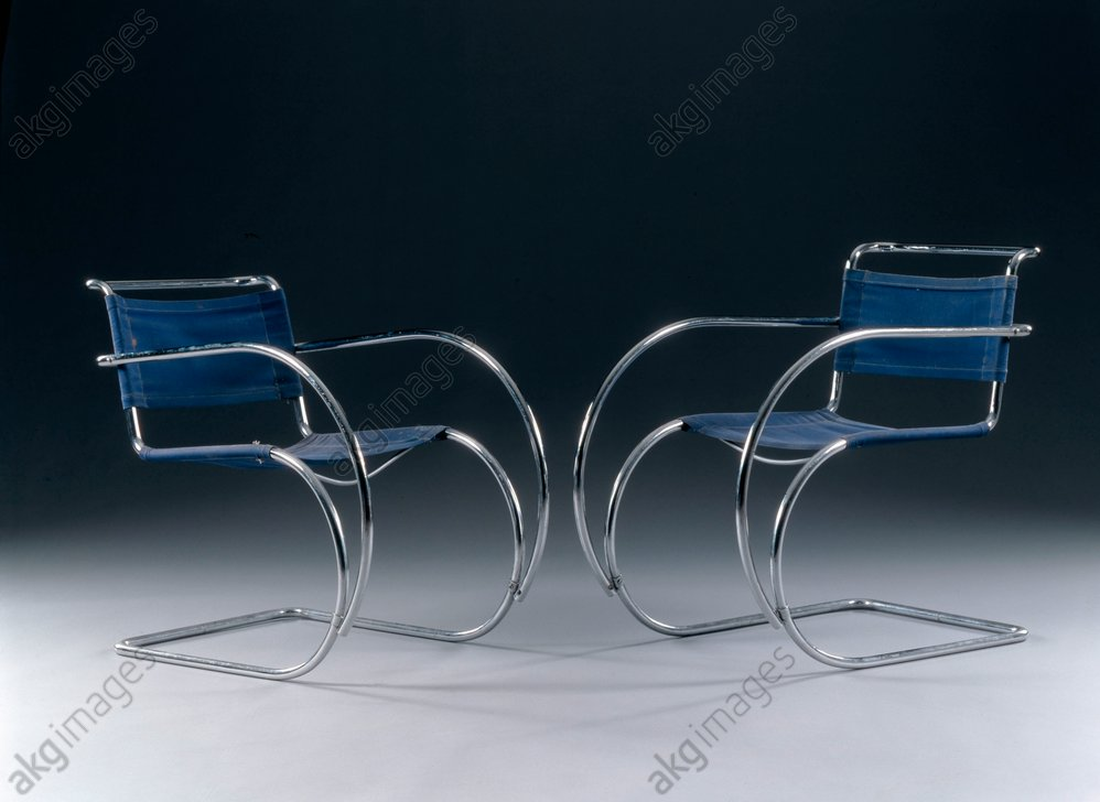 """Two chairs (of four) """"Weißenhof MR 20"""". Design, 1927, by Ludwig Mies van der Rohe <br/>AKG380135"""