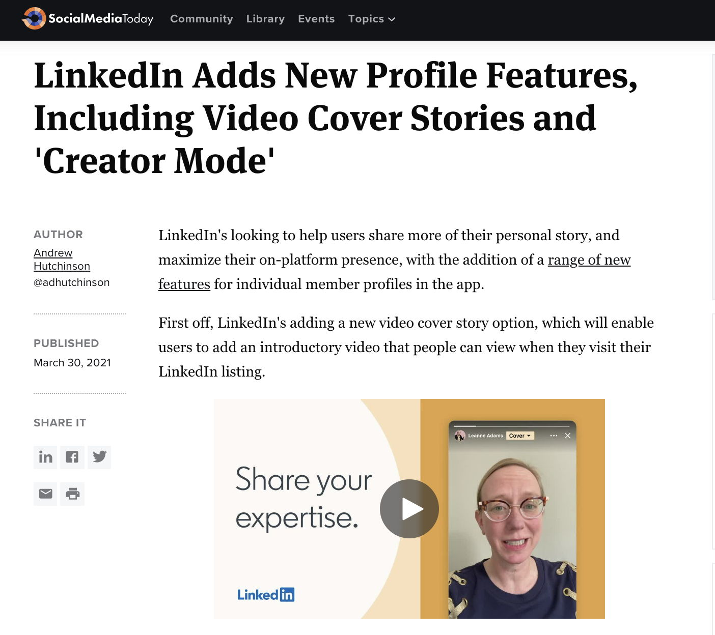 LinkedIn Adds New Profile Features, Including Video Cover Stories and 'Creator Mode'
