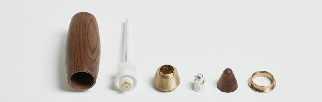 La nouvelle marque de design belge Grinderworks lance le moulin à épices Bartolomeu