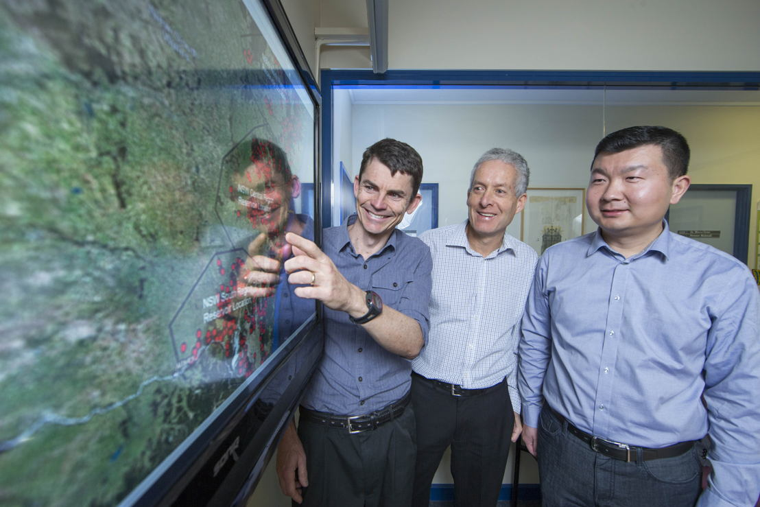 (L-R) Dr Matthew Stocks, Professor Andrew Blakers and Bin Lu. Image credit: ANU