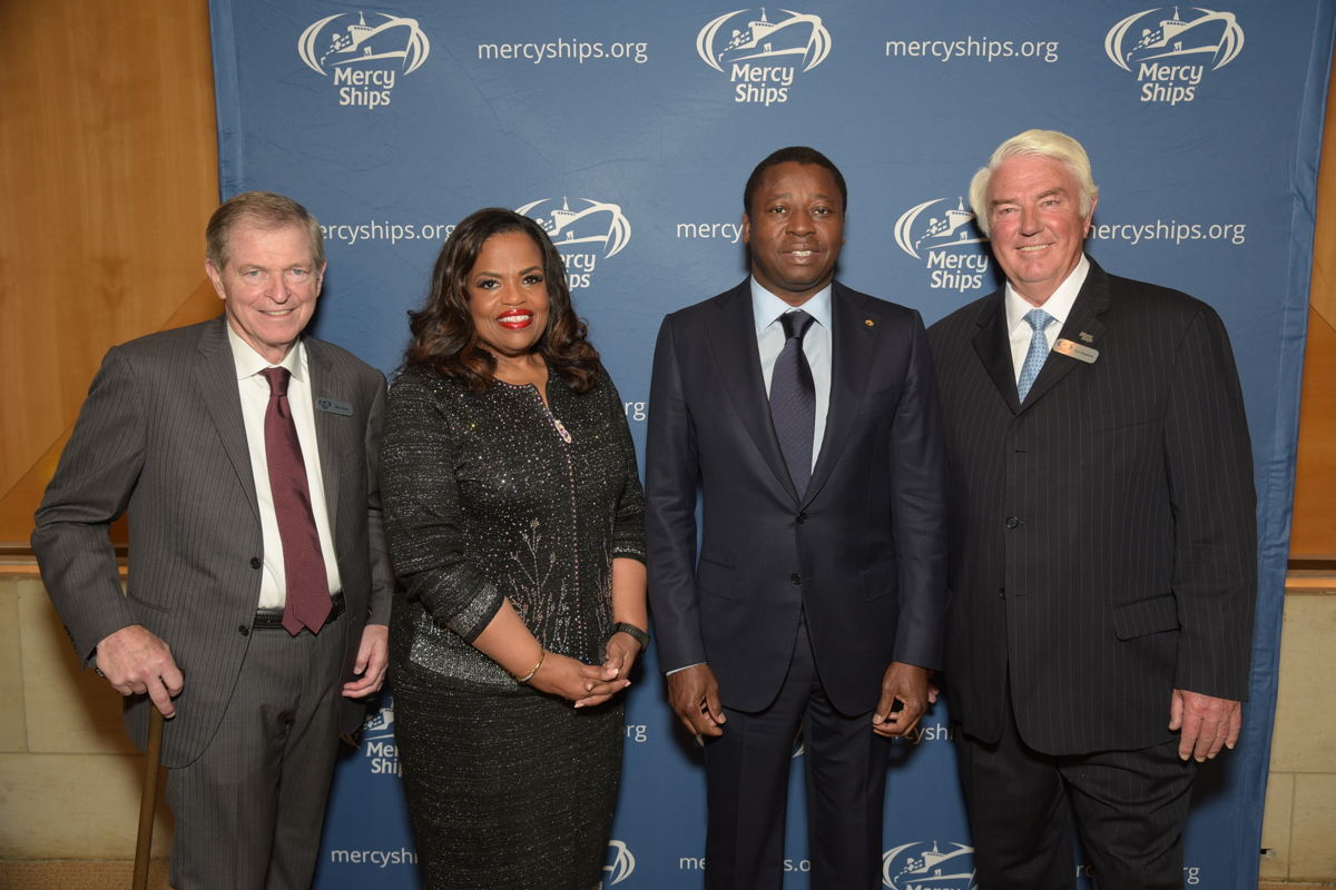 Mike Ullman, chairman of Mercy Ships International; Mercy Ships President Rosa Whitaker; H.E. Faure Gnassingbe, the president of The Togolese Republic; and Don Stephens, Founder of Mercy Ships.