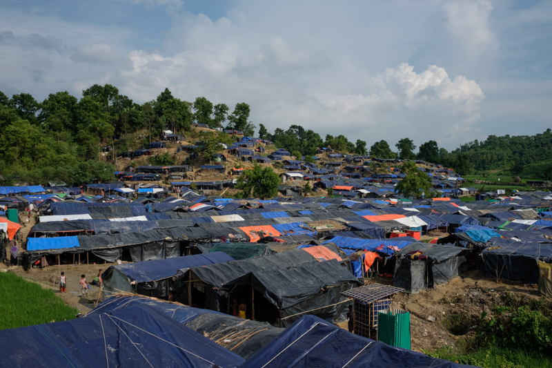 A view of Unchiparang settlement, one of the many locations where newly arrived Rohingyas are living. Photographer: Antonio Faccilongo