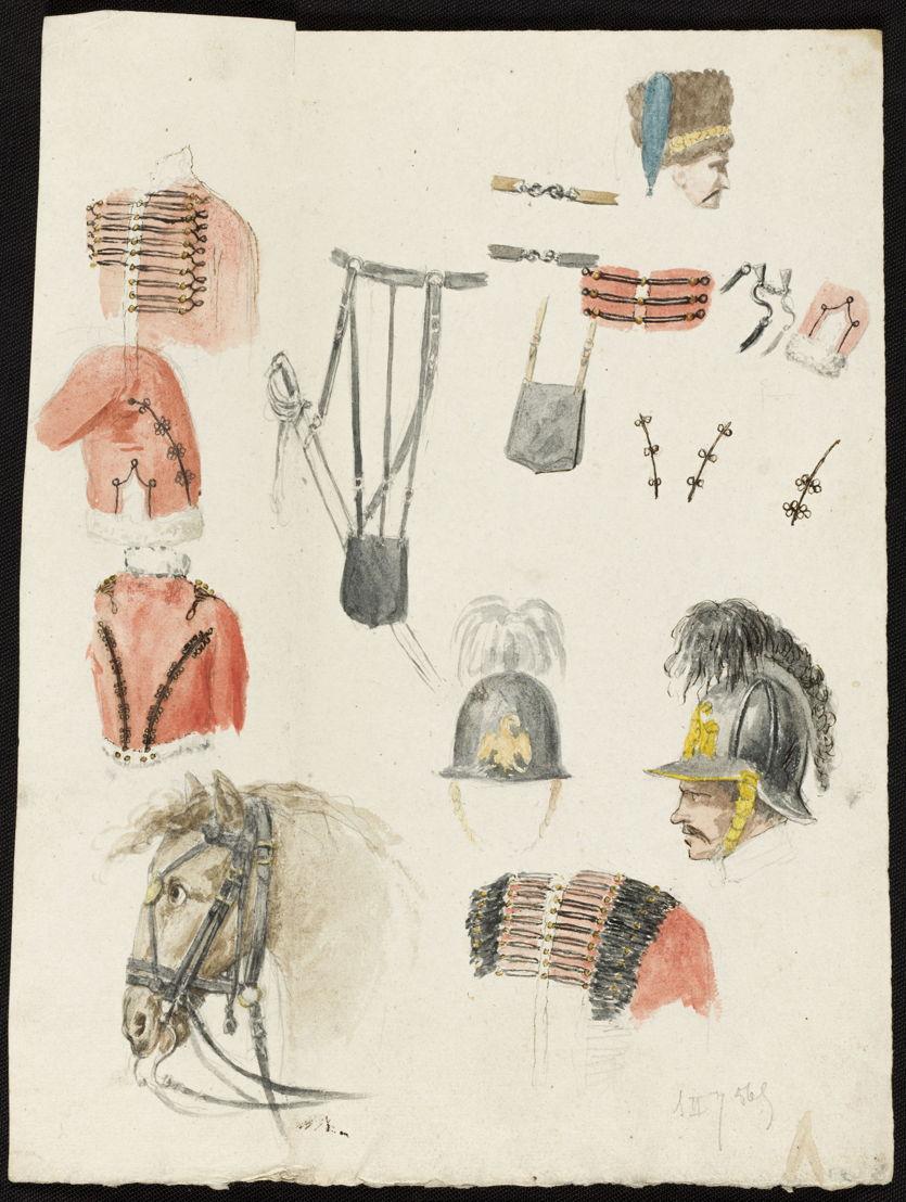 Jean-Baptiste Rubens, « Bataille de Waterloo, croquis par J.B. Rubens », <br/>Croquis d&#039;uniformes des armées anglaise et hanovrienne. Crayon, plume et aquarelle.<br/>© Bibliothèque royale de Belgique