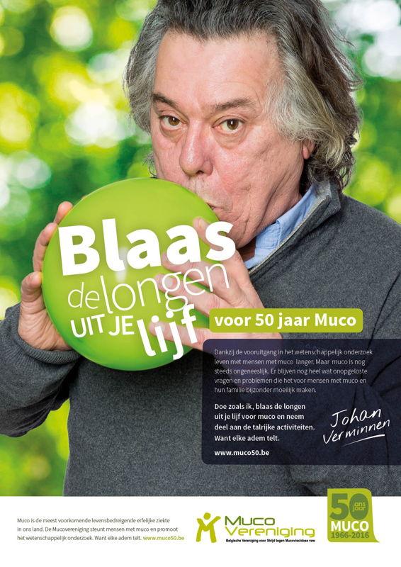 Johan Verminnen blaast de longen uit zijn lijf voor 50 jaar Mucovereniging