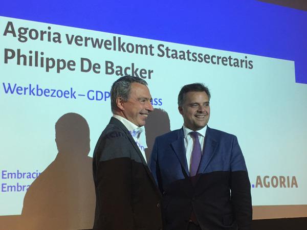 Marc Lambotte, CEO d'Agoria et Philippe De Backer, secrétaire d'État à la Protection de la vie privée.
