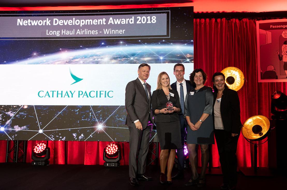Cathay Pacific Airways bekroond met Longhaul Network Development Award 2018 op Brussels Airport