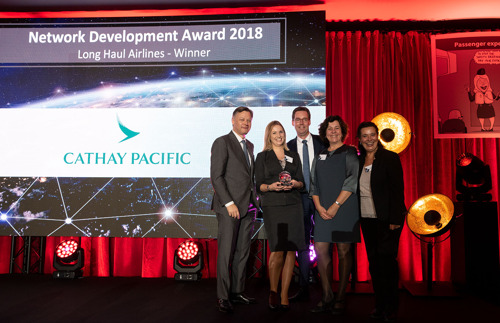 Cathay Pacific Airways bekroond met Longhaul Network Development Award 2018 op Brussels Airport
