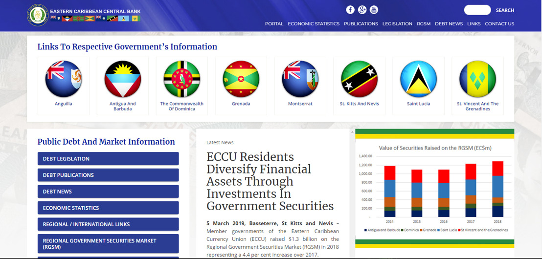 ECCB Launches ECCU Public Debt and Market Information Web Portal