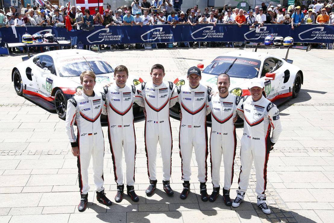 Porsche 911 RSR (92), Porsche GT Team: Dirk Werner, Michael Christensen, Kevin Estre, Richard Lietz, Frederic Makowiecki, Patrick Pilet (l-r)