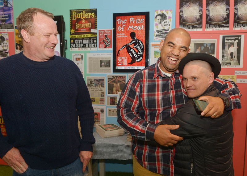 Cape Town Fringe CEO Tony Lancaster, City of Cape Town's Cllr Eddie Andrews and Rob van Vuuren at CT Fringe Festival 2016 - credit Bruce Sutherland