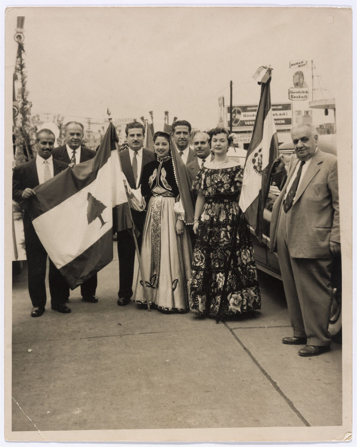 A celebration of Lebanon's Independence Day in Mexico, 1948-1950, gelatin silver developing-out paper print. Graciela Madrigal de Bulhosen Collection, courtesy of the Arab Image Foundation