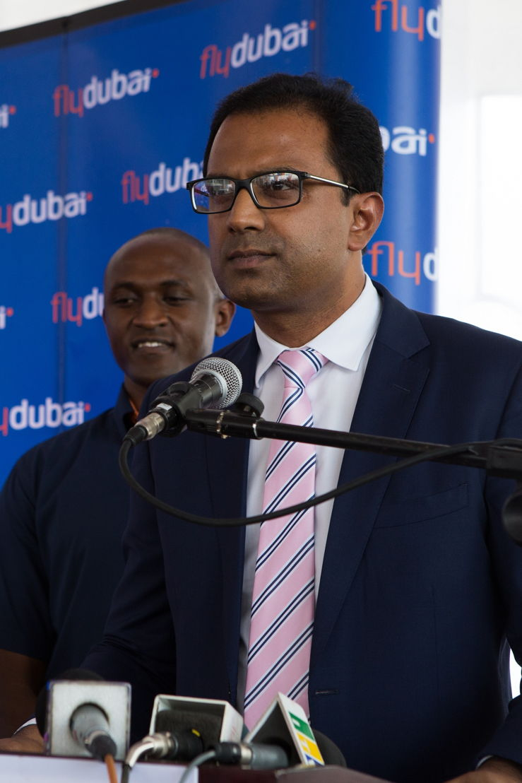 flydubai's SVP, Sudhir Sreedharan speaking at the press conference in Dar es Salaam