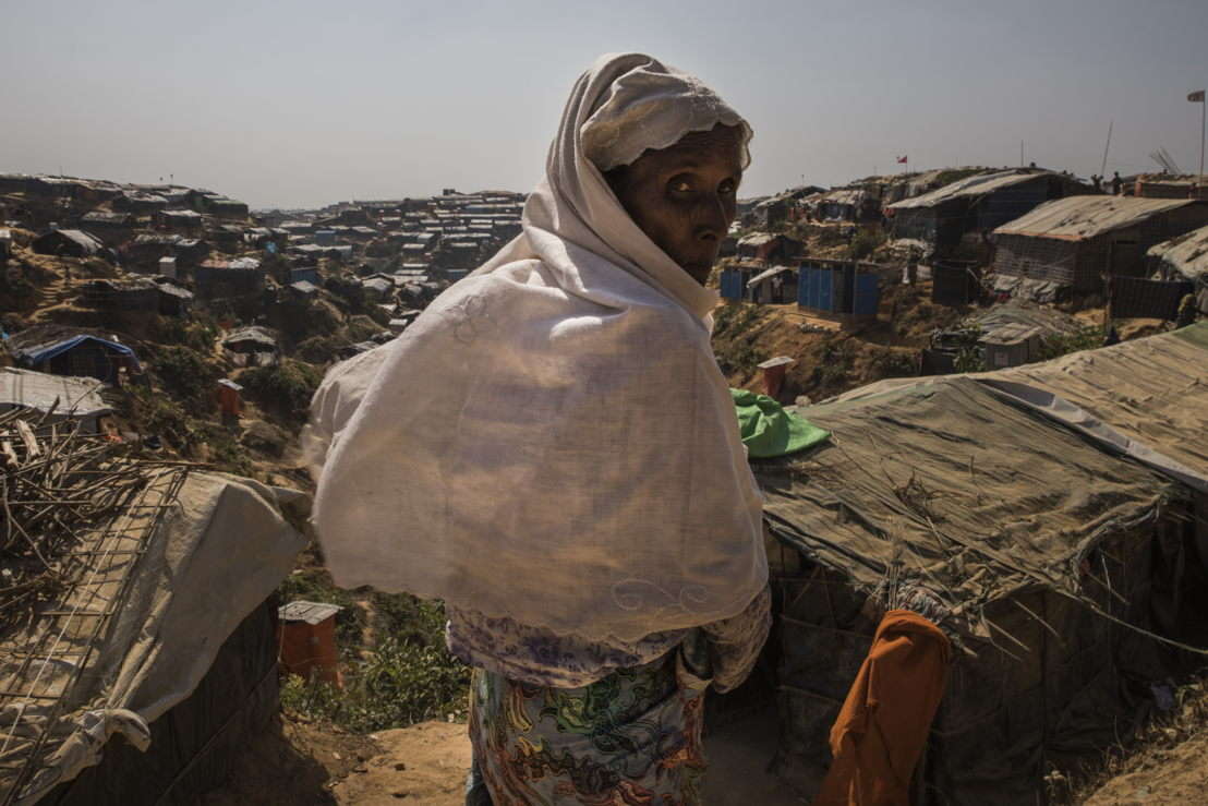 A Rohingya refugee in Jamptoli makeshift camp, where more than 50,000 people are sheltering. Photographer: Anna Surinyach