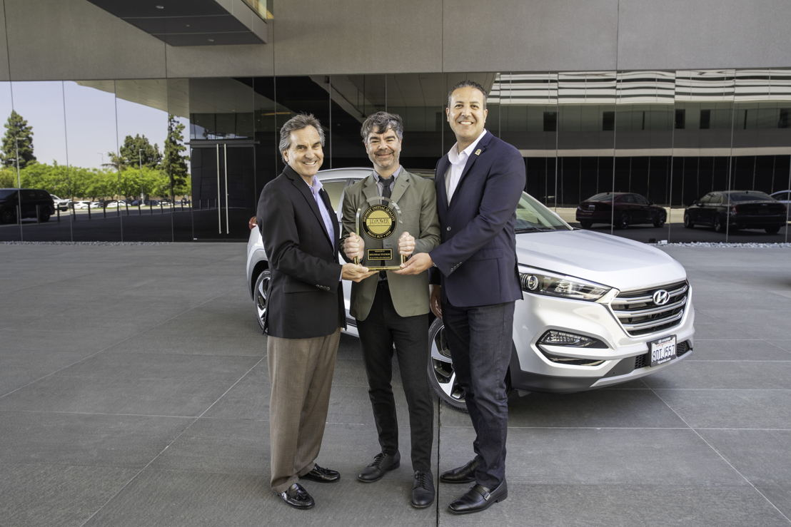 Photo Caption (left to right):<br/> <br/>Brian Smith, COO, Hyundai Motor America; Geoffrey Mortimer-Lamb, Vice President, Head of Global Product Development, J.D. Power; Omar Rivera, Director, Quality and Service Engineering, Hyundai Motor America.
