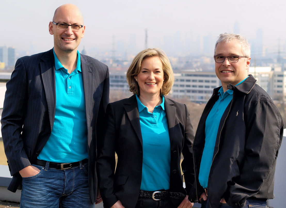 Founders of bd4travel. From left to right: Ibrahim Husseini (CTO), Melanie Sickenberger (CPO/COO), Andy Owen Jones (CEO)
