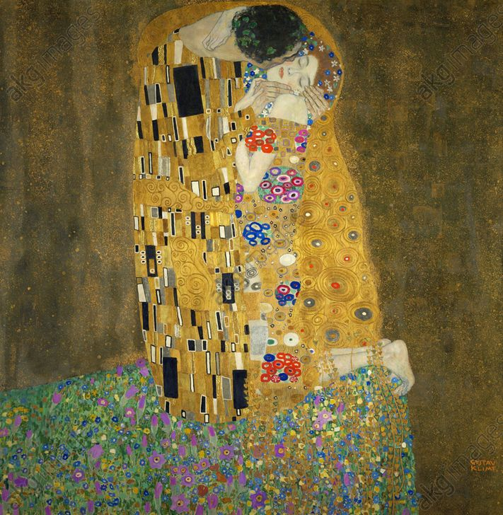 'The Kiss', 1908, Oil on canvas, 180 × 180 cm. <br/><br/>Museum: Österreichische Galerie<br/><br/>AKG2401482