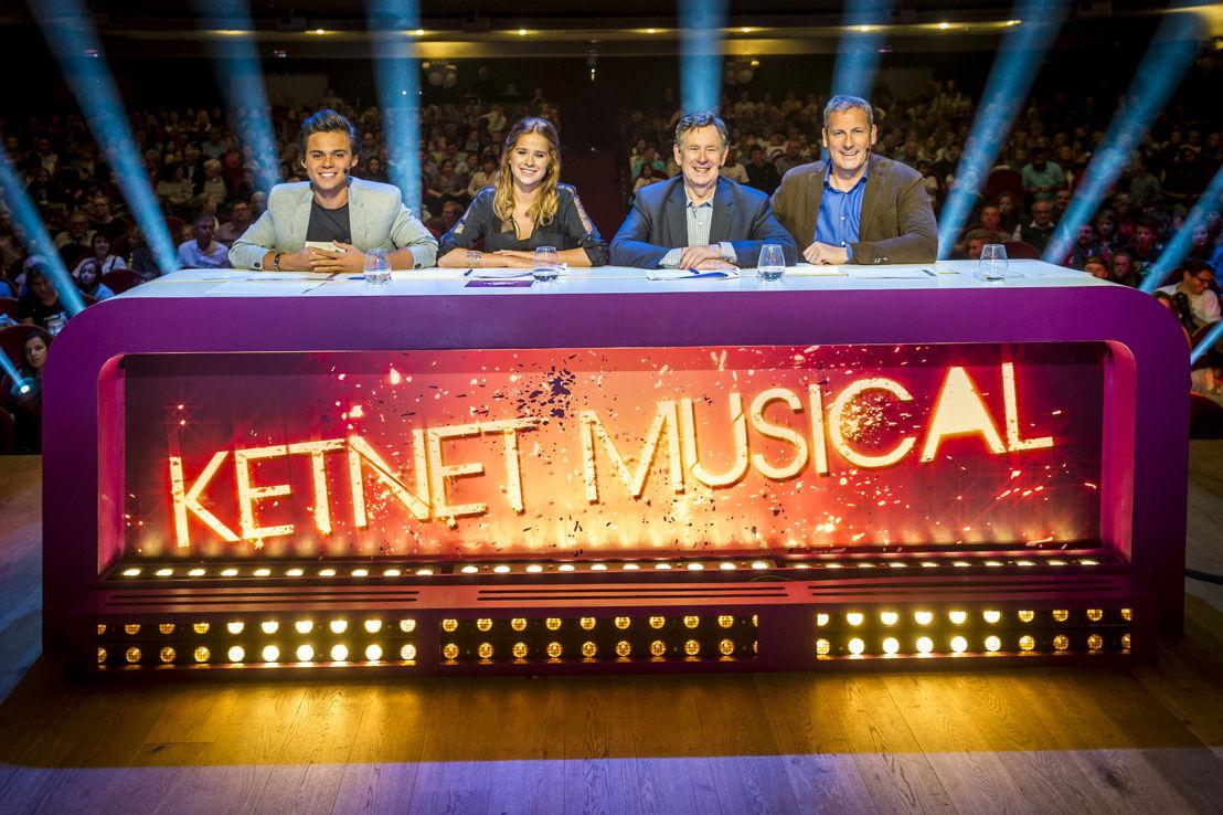 Ketnet Musical - de jury in de finaleweek: Giovanni Kemper, Laura Tesoro,  Koen Crucke en Gert Verhulst - (c) VRT/Frederik Beyens