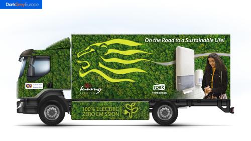 King Belgium en Tork zetten 100% elektrische vrachtwagen in voor distributie van hygiëneproducten