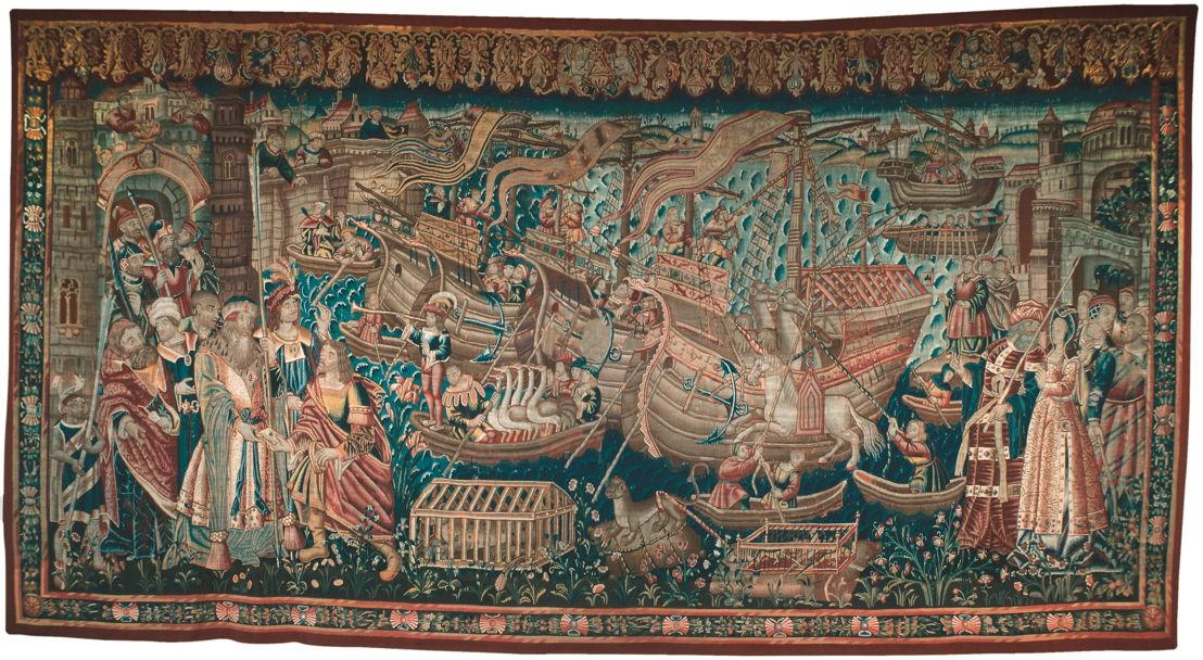 © De zogenaamde 'Landing van Vasco da Gama in Indië', Doornik, begin zestiende eeuw. Lissabon, Caixa General de Dépositos. In bruikleen aan het Museu Nacional de Arte Antiga, Lissabon.