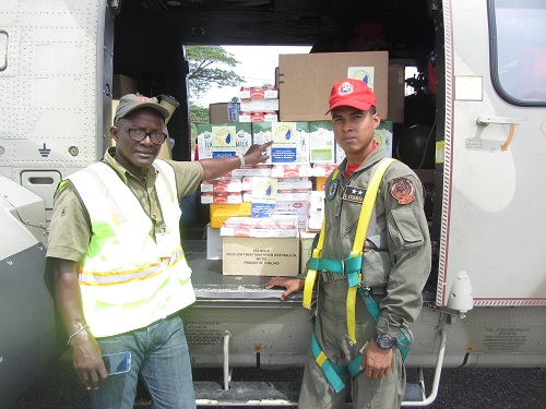 Supplies leaving on a Venezuelan military helicopter to Dominica supplied by the St. Lucia Hotel and Tourism Association