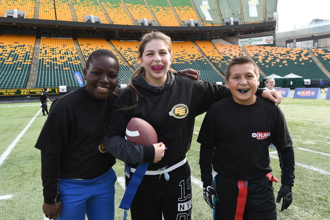 Participants in the NFL CFL Flag tournament in Edmonton. Photo credit: CFL