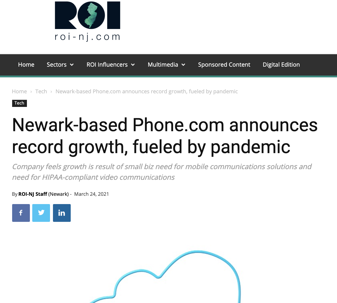 Newark-based Phone.com announces record growth, fueled by pandemic
