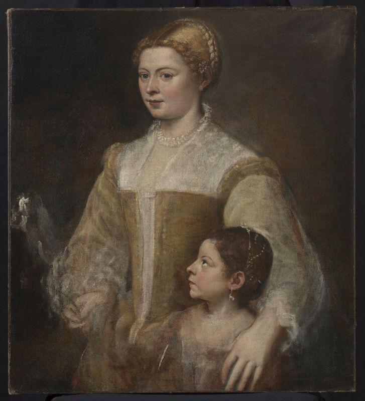 Titien (Tiziano Vecellio), <br/>Portrait d'une dame et sa fille , ca. 1550, 88.3 x 80.6 cm, photo KIK-IRPA