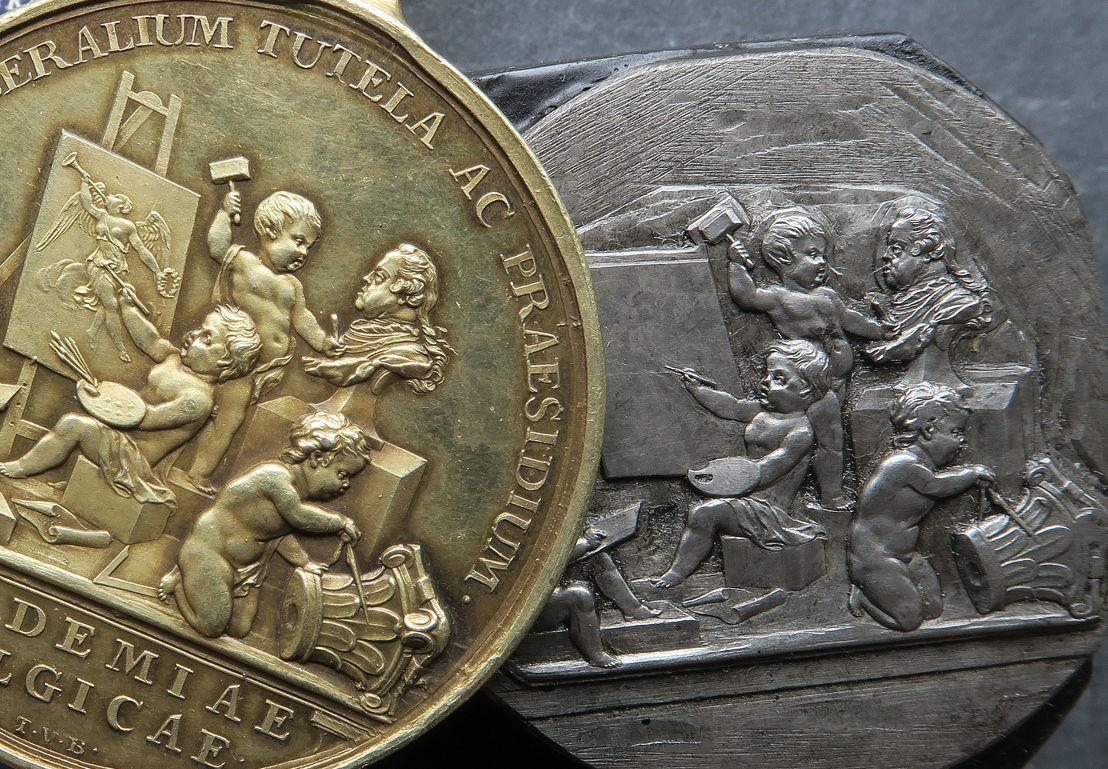 Theodoor van Berckel, prijspenning en ponsoenstempel voor de prijsmedaille van de Academie voor Schone Kunsten (1778).