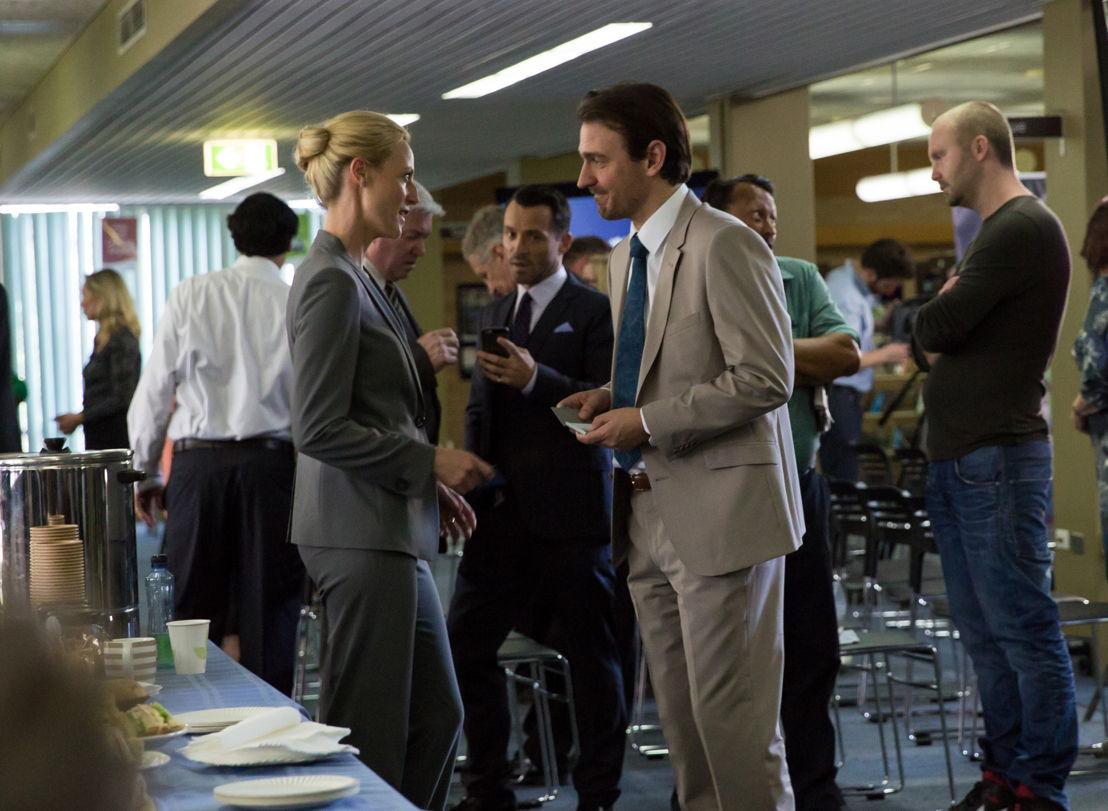 Marta Dusseldorp as Janet King Damian Walshe-Howling as Owen Mitchell (centre), Ewen Leslie as Patrick Bocarra