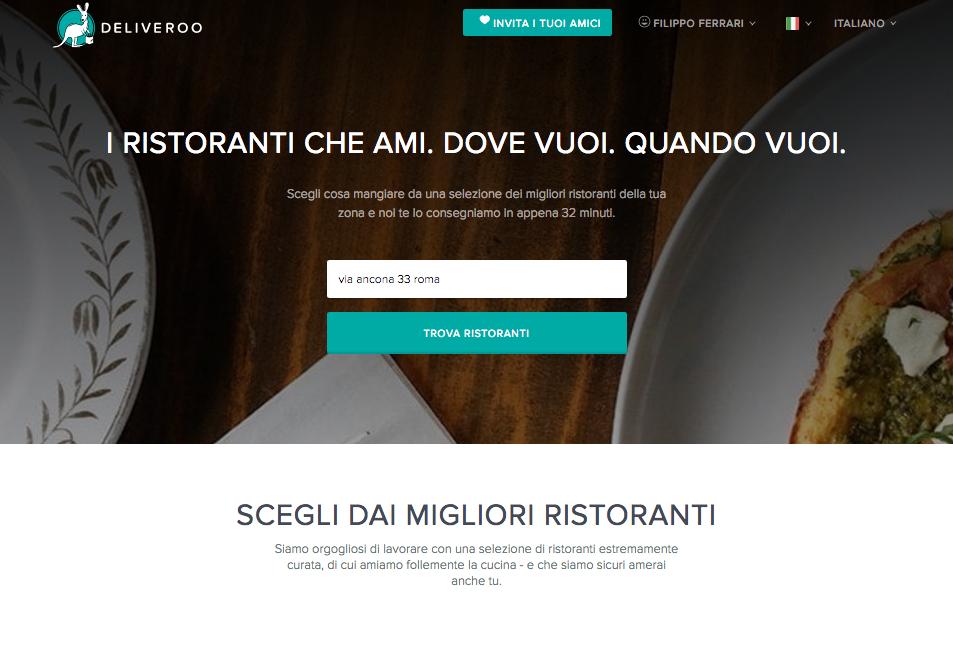Homepage Deliveroo