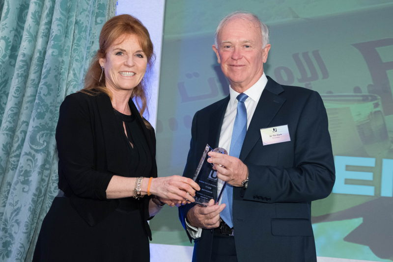 Sarah Ferguson, the Duchess of York handing the award to Sir Tim Clark, President Emirates airline